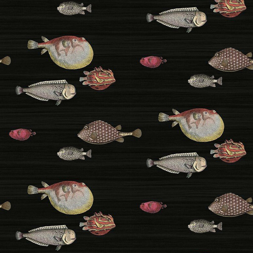 Acquario Wallpaper - Red / Orange / Charcoal - by Cole & Son