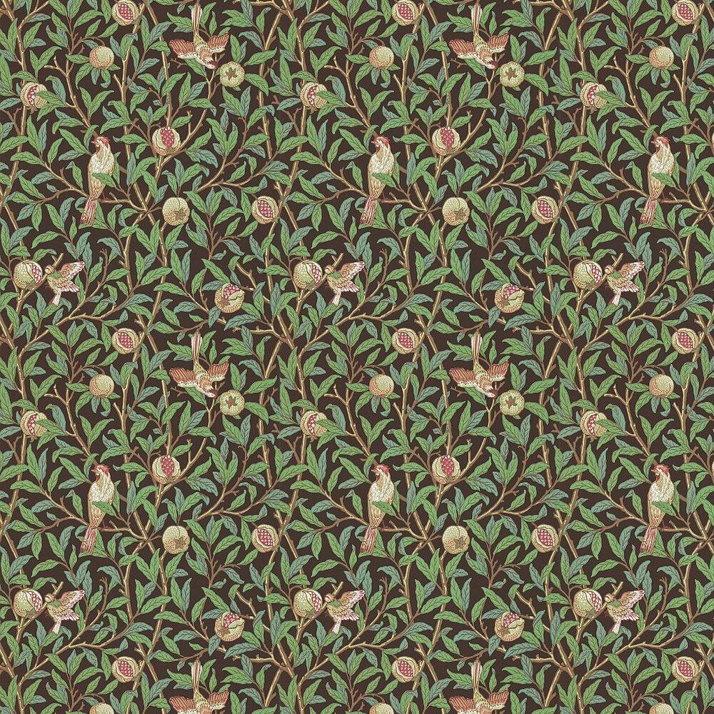Bird & Pomegranate Wallpaper - Green / Brown - by Morris