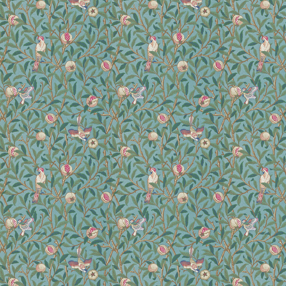 Bird & Pomegranate Wallpaper - Green / Metallic Teal - by Morris