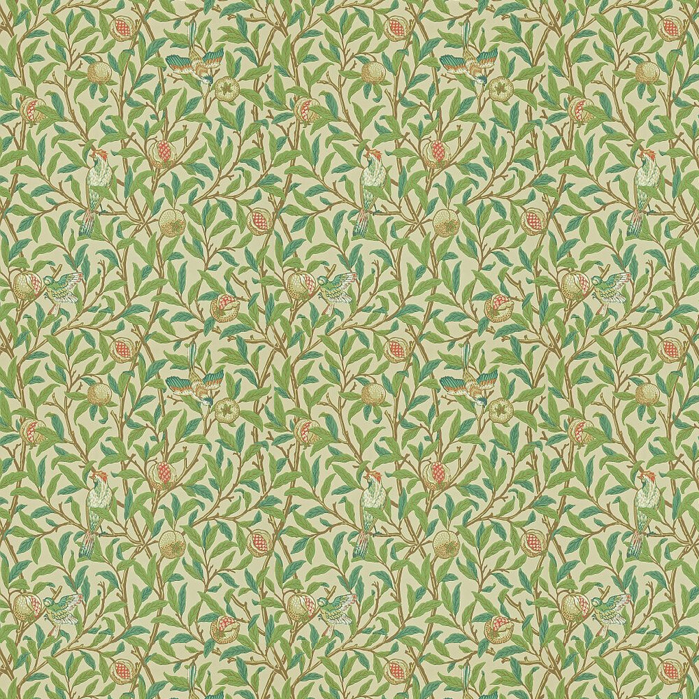 Bird Pomegranate By Morris Green Parchment Wallpaper 212539