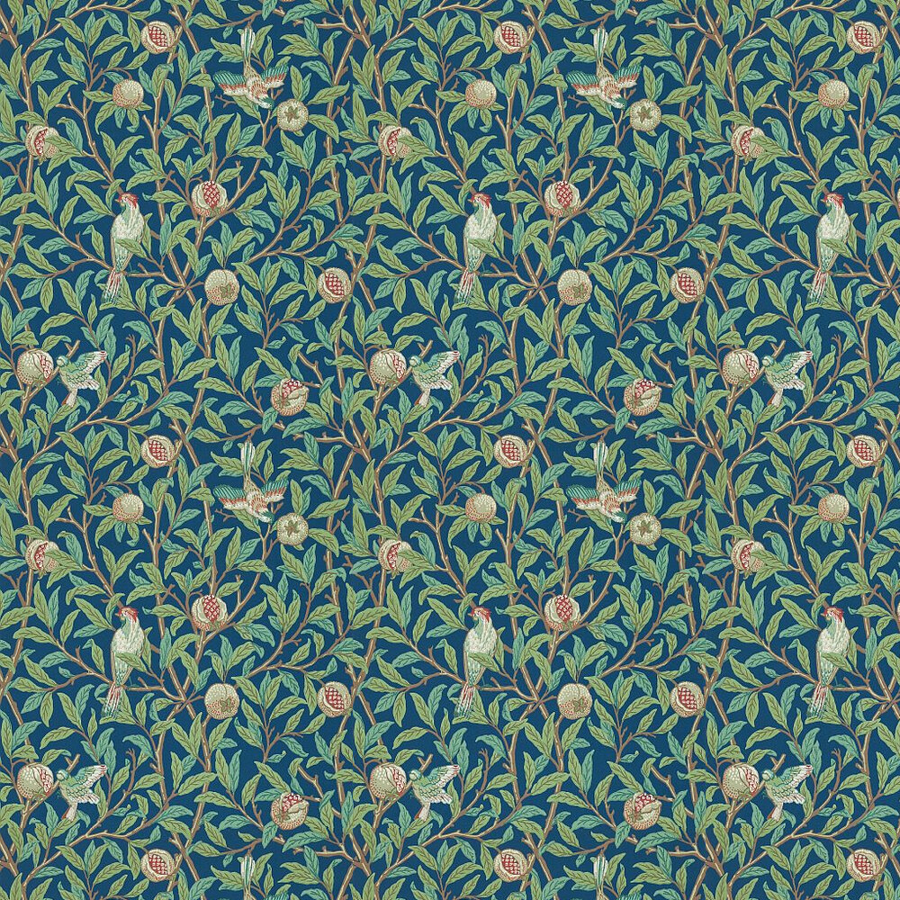 Bird & Pomegranate Wallpaper - Green / Blue - by Morris