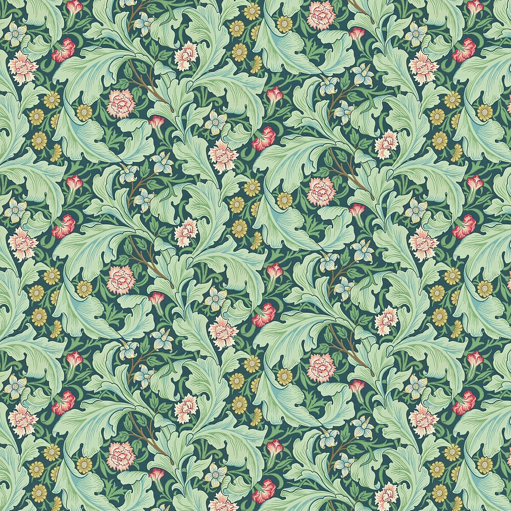 Leicester Wallpaper - Green / Multi - by Morris