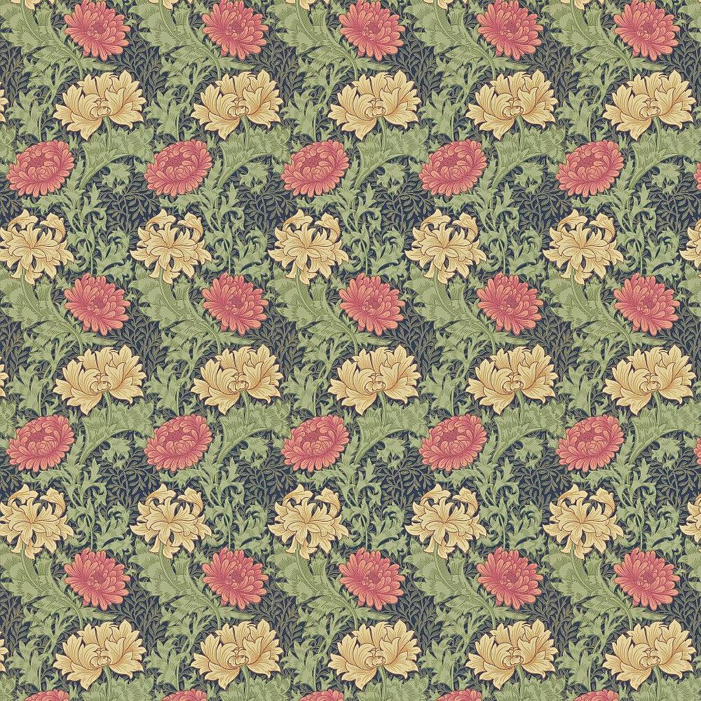 Morris Chrysanthemum Green / Blue / Red / Cream Wallpaper - Product code: 212549