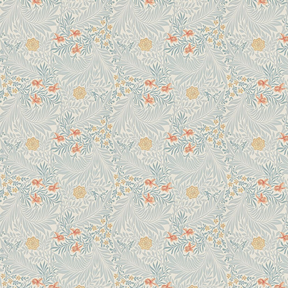 Larkspur Wallpaper - Grey / Yellow / Orange - by Morris