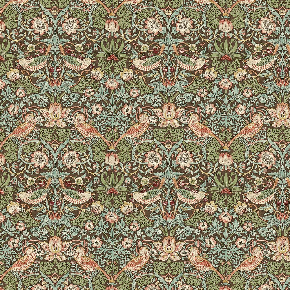 Strawberry Thief Wallpaper - Brown / Multi - by Morris
