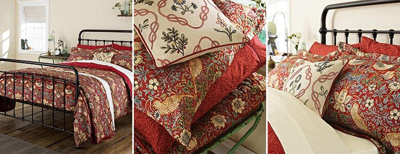 Morris Strawberry Thief Crimson Bedding Collection