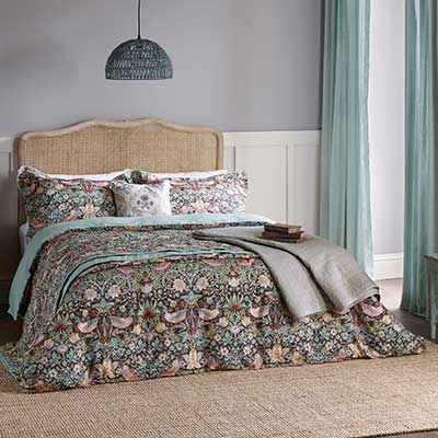 Morris Strawberry Thief Bedding Brown Collection