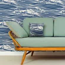 Mini Moderns Whitby  Washed Denim Wallpaper
