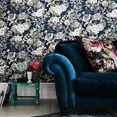 Albany Raipur Floral Marine Blue Wallpaper - Product code: SZ001847