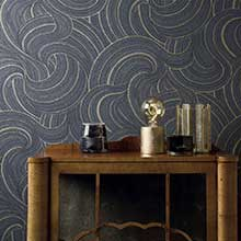 Albany Wood Panelling Blue Wallpaper
