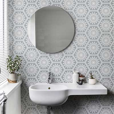 Layla Faye Hex Misty Grey Wallpaper - Product code: LF1059