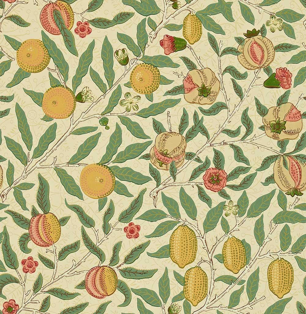 Morris Fruit Beige / Gold / Coral Wallpaper - Product code: WR8048/1