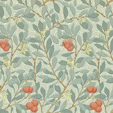 Morris Arbutus Blue / Cream / Red Wallpaper