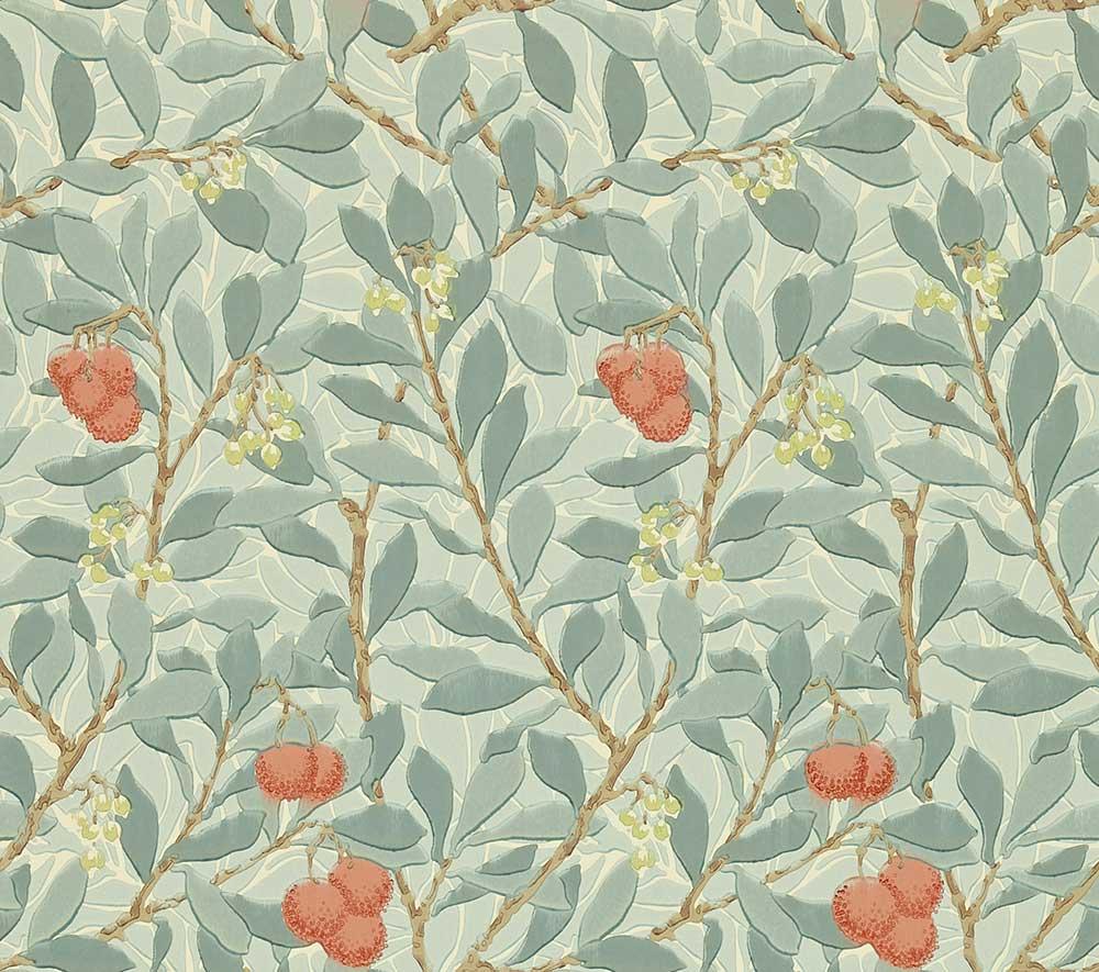 Morris Arbutus Blue / Cream / Red Wallpaper - Product code: WR8466/2