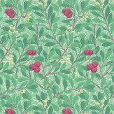 Morris Arbutus Green / Red Wallpaper