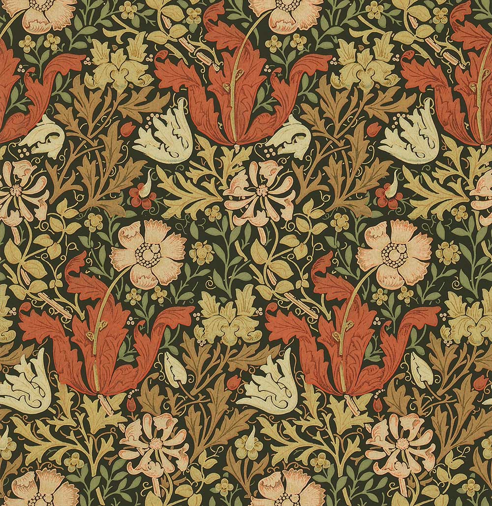 Compton by Morris - Pink / Green : Wallpaper Direct