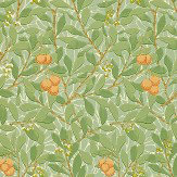 Morris Arbutus Green / Cream / Orange Wallpaper