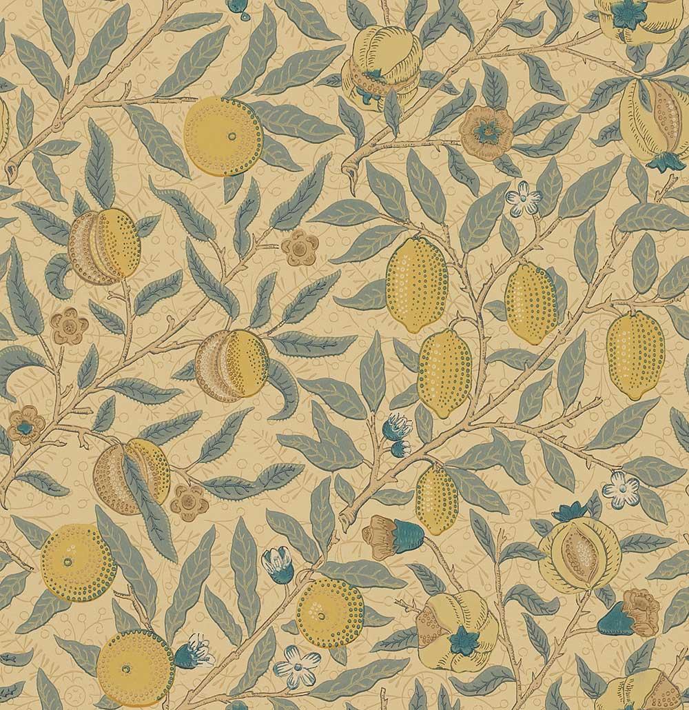 Morris Fruit Blue / Gold / Brown Wallpaper - Product code: WR8048/3
