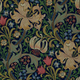 Morris Golden Lily Green / Multi Wallpaper