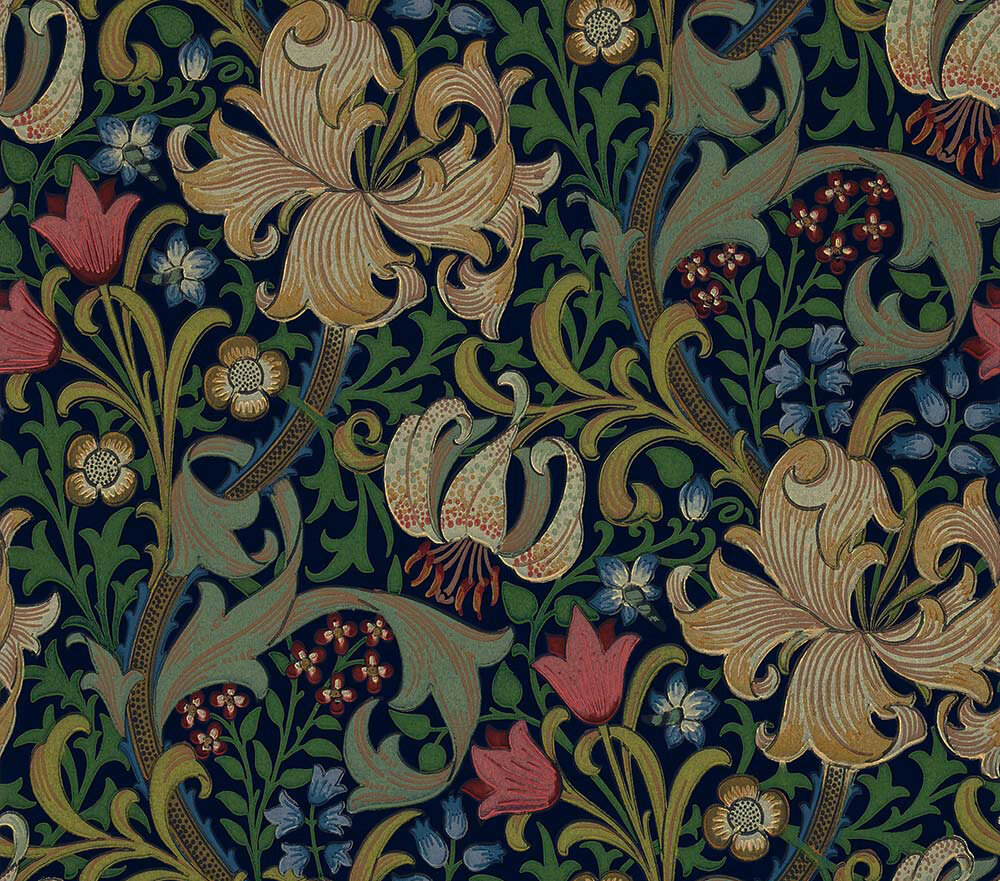 Morris Golden Lily Indigo Wallpaper main image