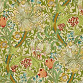 Morris Golden Lily Red / Green Wallpaper