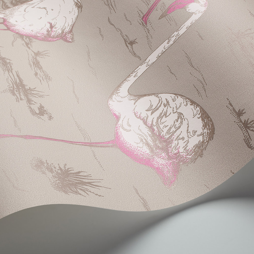 Flamingos Wallpaper - Grey - by Cole & Son