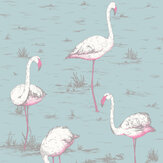 Cole & Son Flamingos Duck Egg Wallpaper