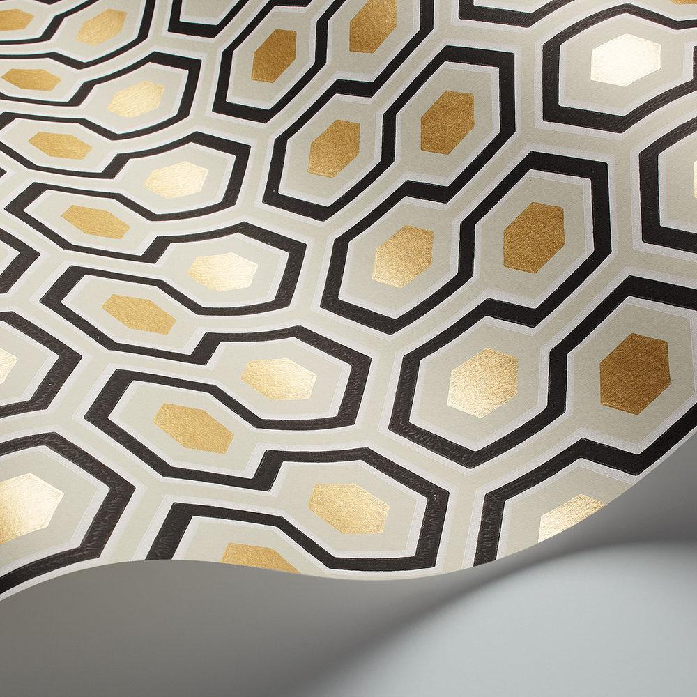 Hicks' Hexagon Wallpaper - Black / Gold - by Cole & Son