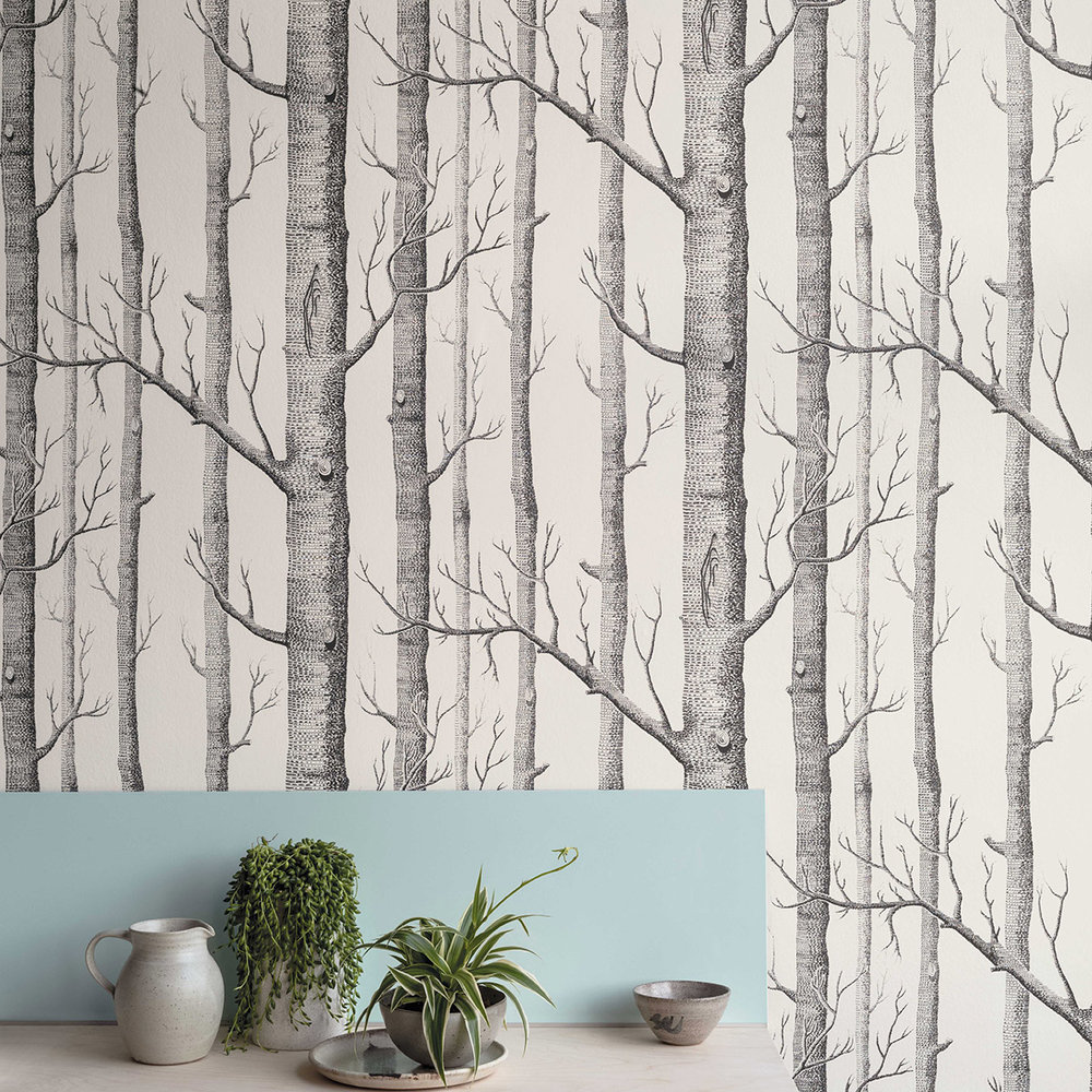 Cole & Son Woods Black / White Wallpaper extra image