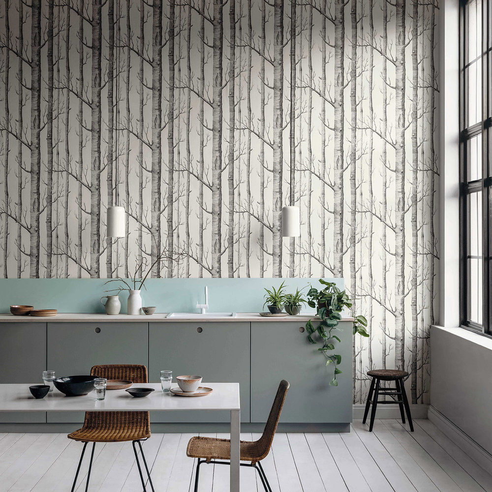 Woods Wallpaper - Black / White - by Cole & Son