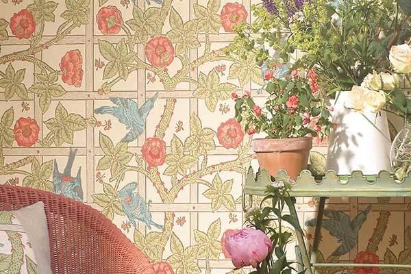 Morris Trellis Vanilla / Plaster Wallpaper