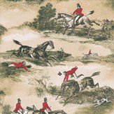 Lewis & Wood Hunting Scenes 1860 Red / Green Wallpaper