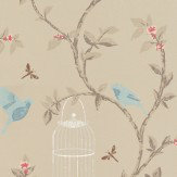 Nina Campbell Birdcage Walk Metallic Silver / Gold Wallpaper