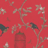 Nina Campbell Birdcage Walk Red Wallpaper