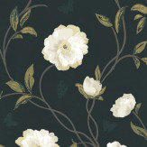 Nina Campbell Peony Place Black Wallpaper