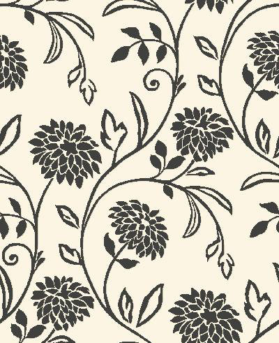 A black and white mock flock floral wallpaper. Striking design and texture