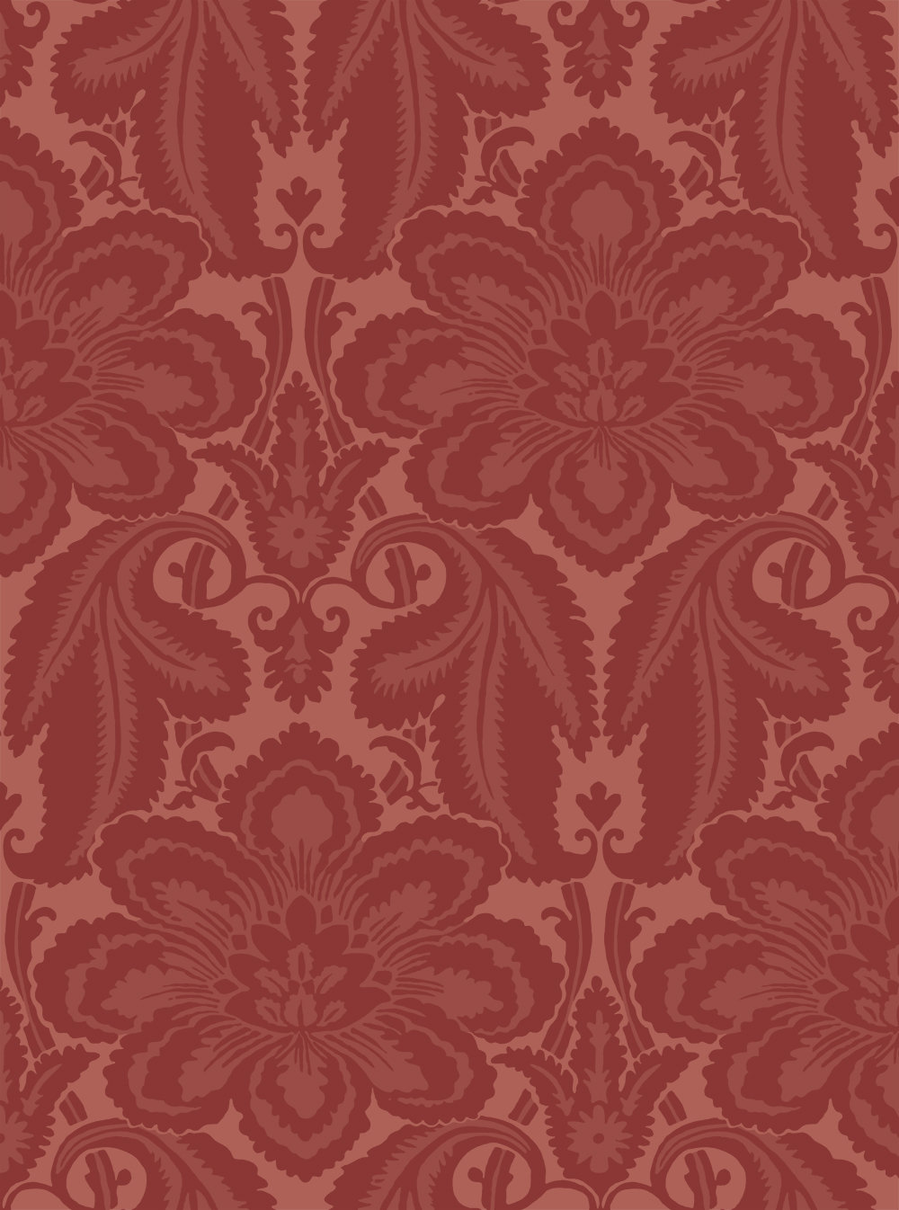 Little Greene Albemarle Flame Red Wallpaper - Product code: 0251ALFLAME