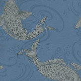 Osborne & Little Derwent Silver / Blue Wallpaper - Product code: W5796/05