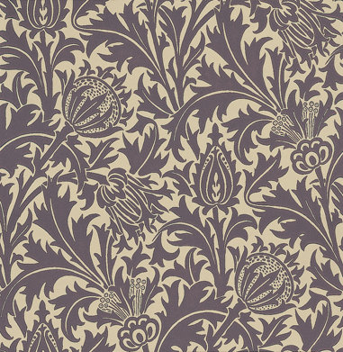 Morris Thistle Mulberry / Linen Wallpaper - Product code: DMOWTH101