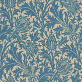 Morris Thistle Indigo / Linen Wallpaper