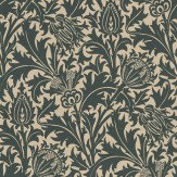 Morris Thistle Black / Linen Wallpaper