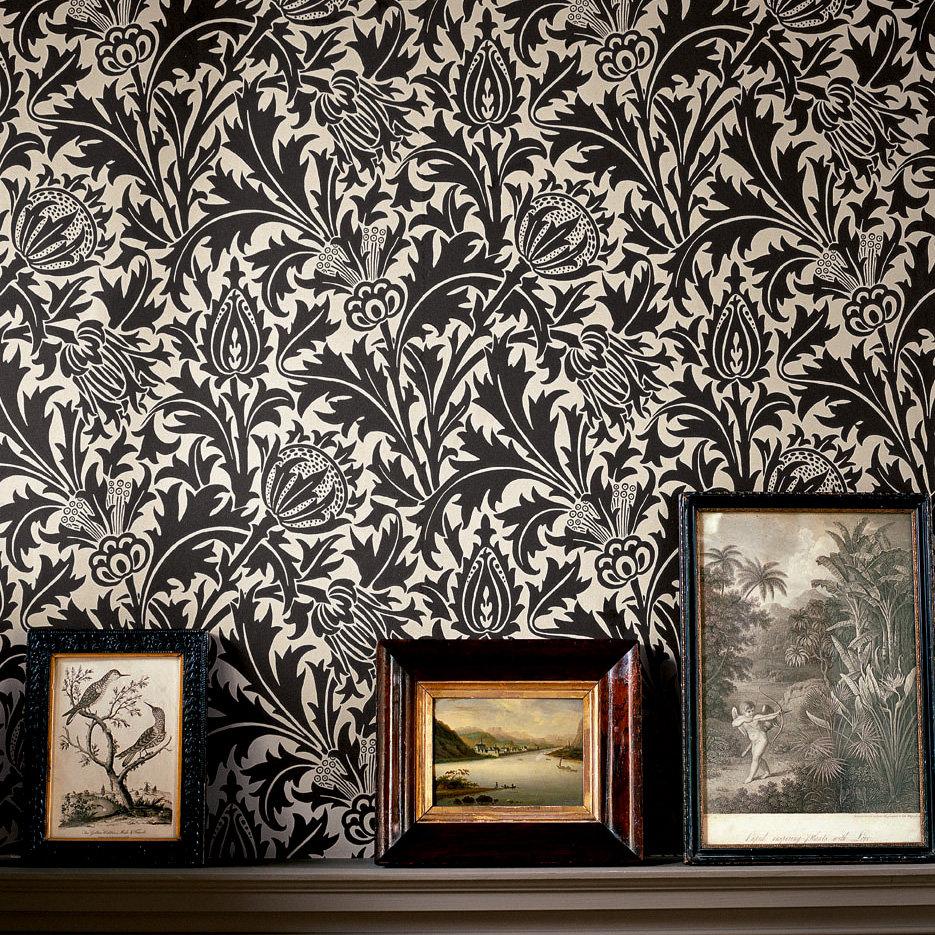Morris Thistle Black / Linen Wallpaper - Product code: DMOWTH103