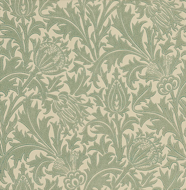 Morris Thistle Duck Egg / Ivory Wallpaper - Product code: DMOWTH105
