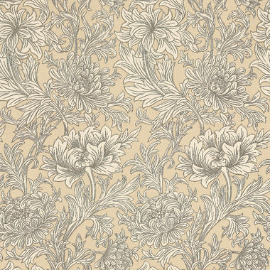 Chrysanthemum toile by morris ivory gold wallpaper for Wallpaper direct