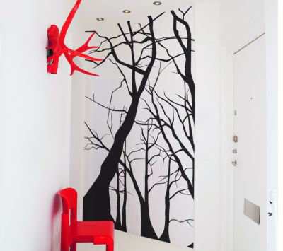 Mr Perswall Trees Mural Black / White - Product code: DM215-2