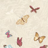 Nina Campbell Farfalla Pink / Blue / Gold / Cream Wallpaper