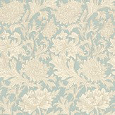 Morris Chrysanthemum Toile Blue / Cream Wallpaper - Product code: DMOWCH101