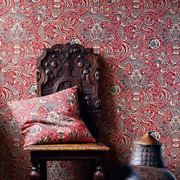 Indian Wallpaper - Red / Black - by Morris