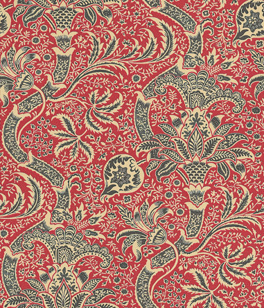 Morris Indian Red / Black Wallpaper - Product code: DMOWIN104