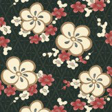 Little Greene Blossom Pink / Black Wallpaper